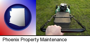 Phoenix, Arizona - using a power lawn mower to maintain the appearance of a lawn