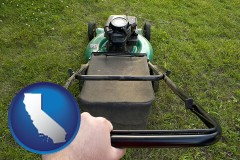 california map icon and using a power lawn mower to maintain the appearance of a lawn