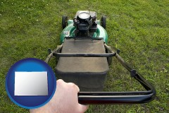 Colorado using a power lawn mower to maintain the appearance of a lawn