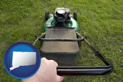 connecticut map icon and using a power lawn mower to maintain the appearance of a lawn