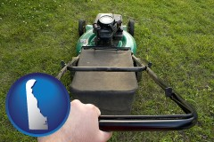 delaware map icon and using a power lawn mower to maintain the appearance of a lawn