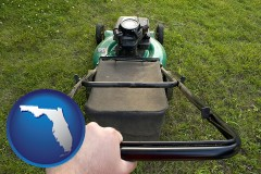 florida map icon and using a power lawn mower to maintain the appearance of a lawn