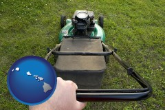 hawaii map icon and using a power lawn mower to maintain the appearance of a lawn
