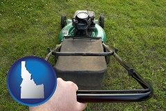 idaho using a power lawn mower to maintain the appearance of a lawn