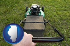 illinois map icon and using a power lawn mower to maintain the appearance of a lawn