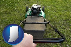 indiana map icon and using a power lawn mower to maintain the appearance of a lawn