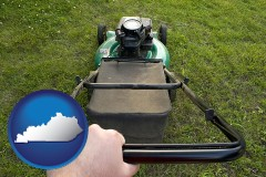 kentucky using a power lawn mower to maintain the appearance of a lawn