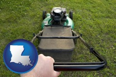 louisiana using a power lawn mower to maintain the appearance of a lawn
