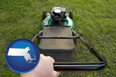 massachusetts map icon and using a power lawn mower to maintain the appearance of a lawn