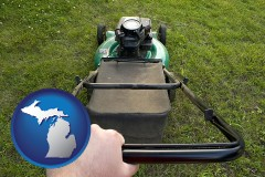 michigan using a power lawn mower to maintain the appearance of a lawn