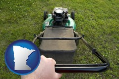 minnesota map icon and using a power lawn mower to maintain the appearance of a lawn