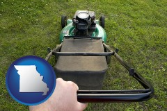 missouri map icon and using a power lawn mower to maintain the appearance of a lawn