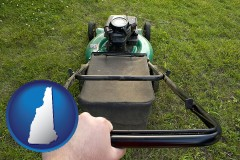 new-hampshire using a power lawn mower to maintain the appearance of a lawn
