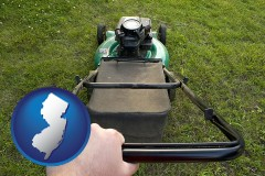 new-jersey map icon and using a power lawn mower to maintain the appearance of a lawn