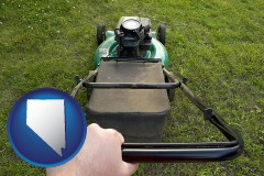 nevada map icon and using a power lawn mower to maintain the appearance of a lawn
