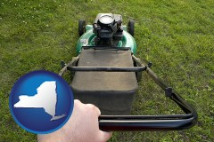 new-york map icon and using a power lawn mower to maintain the appearance of a lawn
