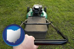ohio map icon and using a power lawn mower to maintain the appearance of a lawn