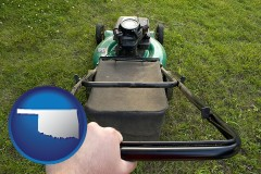Oklahoma using a power lawn mower to maintain the appearance of a lawn