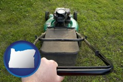 oregon map icon and using a power lawn mower to maintain the appearance of a lawn