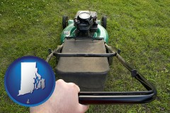 rhode-island map icon and using a power lawn mower to maintain the appearance of a lawn