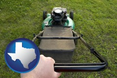 texas map icon and using a power lawn mower to maintain the appearance of a lawn