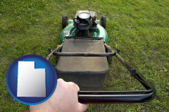 Utah using a power lawn mower to maintain the appearance of a lawn