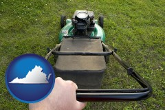 virginia map icon and using a power lawn mower to maintain the appearance of a lawn