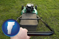 vermont using a power lawn mower to maintain the appearance of a lawn