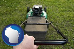 wisconsin map icon and using a power lawn mower to maintain the appearance of a lawn
