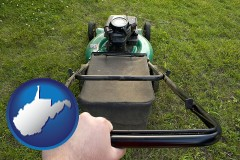 West Virginia using a power lawn mower to maintain the appearance of a lawn