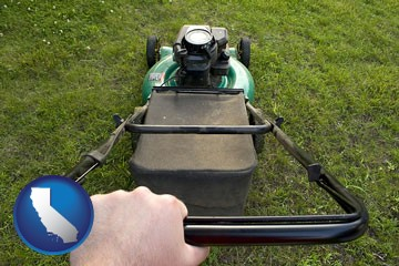 using a power lawn mower to maintain the appearance of a lawn - with California icon