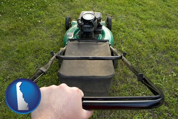 using a power lawn mower to maintain the appearance of a lawn - with Delaware icon