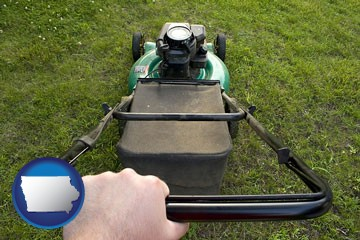 using a power lawn mower to maintain the appearance of a lawn - with Iowa icon