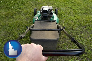 using a power lawn mower to maintain the appearance of a lawn - with Idaho icon