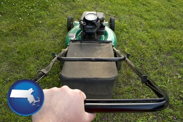 using a power lawn mower to maintain the appearance of a lawn - with Massachusetts icon
