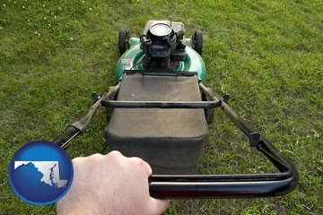 using a power lawn mower to maintain the appearance of a lawn - with Maryland icon