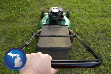 using a power lawn mower to maintain the appearance of a lawn - with Michigan icon