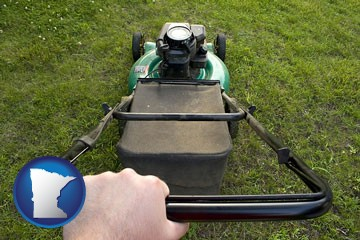 using a power lawn mower to maintain the appearance of a lawn - with Minnesota icon