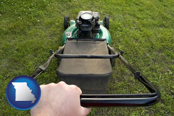 using a power lawn mower to maintain the appearance of a lawn - with Missouri icon