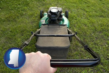 using a power lawn mower to maintain the appearance of a lawn - with Mississippi icon