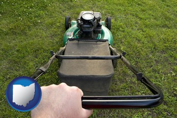 using a power lawn mower to maintain the appearance of a lawn - with Ohio icon