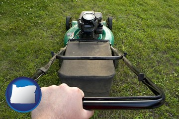 using a power lawn mower to maintain the appearance of a lawn - with Oregon icon