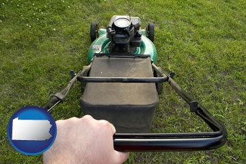 using a power lawn mower to maintain the appearance of a lawn - with Pennsylvania icon