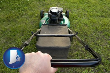 using a power lawn mower to maintain the appearance of a lawn - with Rhode Island icon