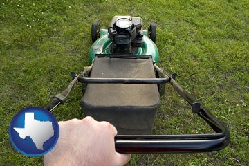 using a power lawn mower to maintain the appearance of a lawn - with Texas icon