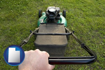 using a power lawn mower to maintain the appearance of a lawn - with Utah icon
