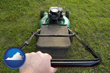 using a power lawn mower to maintain the appearance of a lawn - with Virginia icon