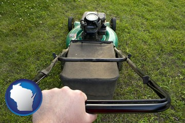 using a power lawn mower to maintain the appearance of a lawn - with Wisconsin icon