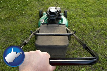 using a power lawn mower to maintain the appearance of a lawn - with West Virginia icon